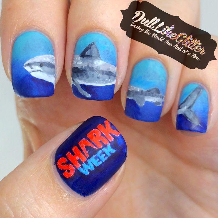 Saving the World One Nail at a Time: Shark Week Nail Art!