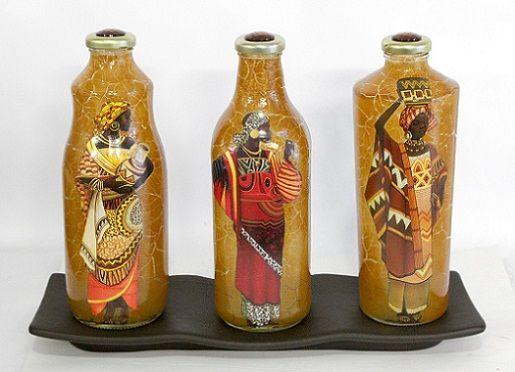 Decoupagem e Craquelê em Garrafas de Vidro | Artesanato e Decoração