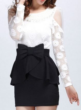 So Pretty! Love the Lace! Love the Bow! Beaded Color Block Floral Print Long Sleeve Round Collar Women's Party Dress #Sheer #Chic #Elegant #White #Lace #Party #Dress  #Black_and_White #Peplum #Bows #Fashion