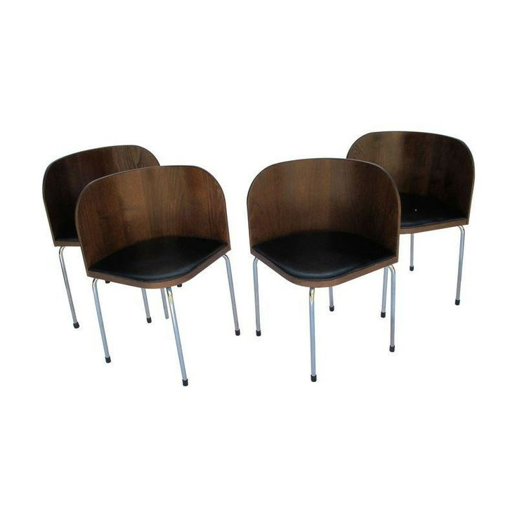 1970s Chrome Amp Maple Wood Barrel Chairs Set Of 4