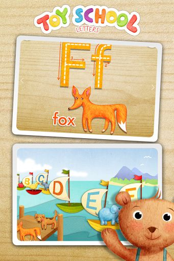 "Learn to write letters, match words with missing first letters, find animals and food that start with different letters and do much more creative tasks with TOY SCHOOL teachers. Time to play and learn the first letters! <p>WHAT'S INSIDE <br>• More than 20 mini games and fun tasks! <br>• Learn 9 letters as you play! <br>• Learn with 3 cool TOY SCHOOL teachers! <br>• Get your rewards – complete fun tasks and collect 4 different stickers! <p><br>""Toy School – Letters"" has 5 different activities…"