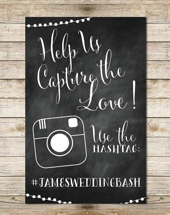 Hashtag Wedding Sign Chalkboard String Lights by SouthernSpruce