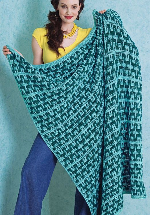 "free crochet pattern--makes a big blanket--50"" x 60""  Would love to do this in red or green and cream for the holidays"