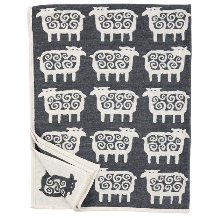 Black Får (Sheep) Organic Cotton Chenille Blanket, Dark Grey