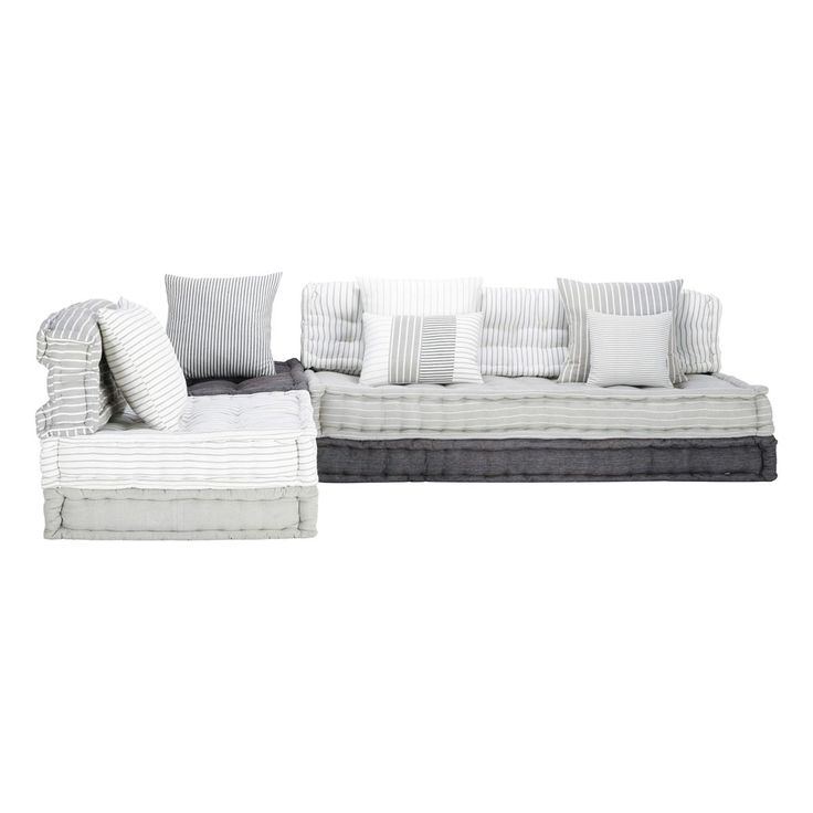 6 seater cotton modular corner day bed in grey and white Honfleur