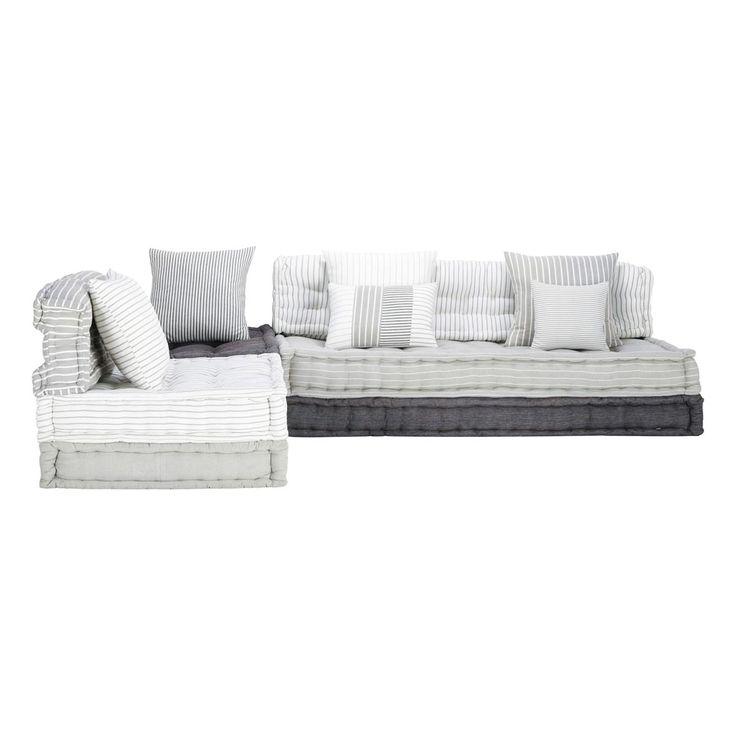 Divanetto ad angolo modulabile grigio e bianco in cotone 6 posti Honfleur | Maisons du Monde