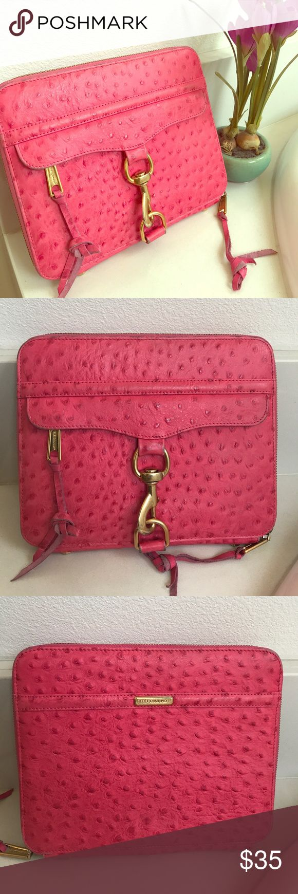 Rebecca Minkoff Ostrich Hot Pink IPad Tablet Case Rebecca Minkoff Ostrich Hot Pink IPad Case. Super cute to use for work or to keep your iPad safe. Used condition, visible wear to case and leather interior Rebecca Minkoff Accessories Tablet Cases