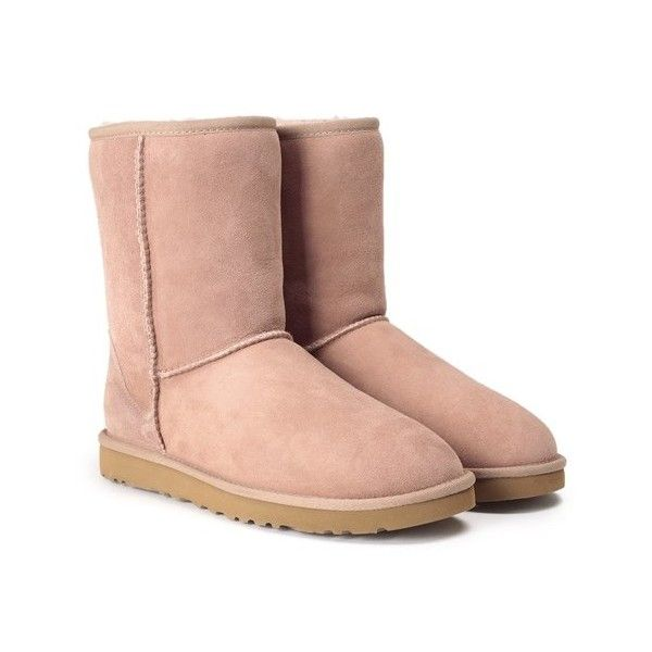 UGG AUSTRALIA Classic short shearling boot ($218) ❤ liked on Polyvore featuring shoes, boots, ankle booties, beige, beige ankle booties, shearling lined boots, ugg australia, beige booties and ugg australia boots