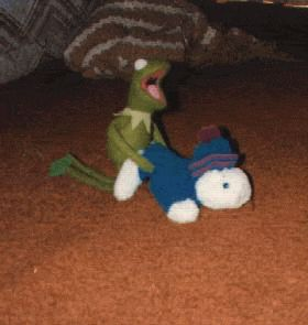 Kermit caught being lewd & lacivious on camera.