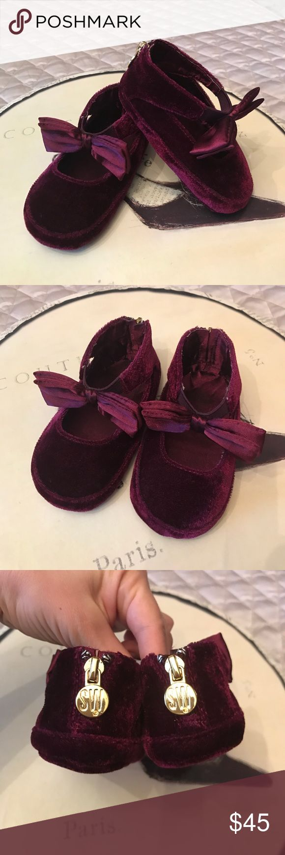 SW baby crib shoes One time worn for an hour. Never touched the ground No sign of wear Stuart Weitzman Shoes Baby & Walker