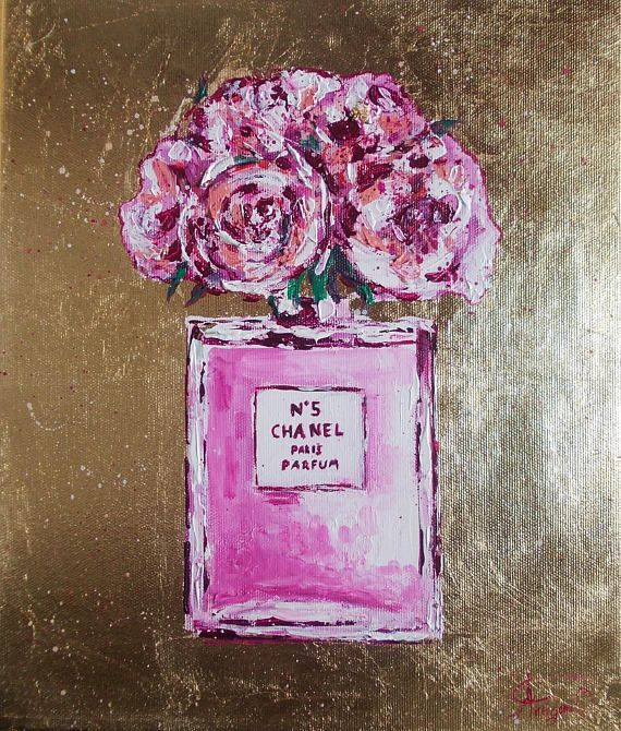Original acrylic chanel vase with pink flowers,pink roses painting,chanel vase,chanel painting,peonies in vase,fashion painting,gold leaf