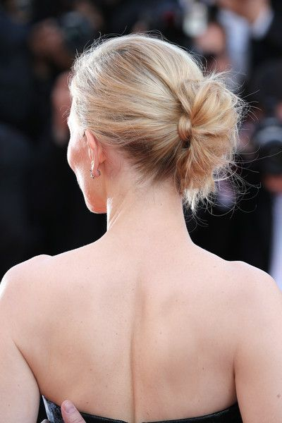 Cate Blanchett Twisted Bun: Cate Blanchett went for edgy elegance with this twisted bun at the premiere of 'Carol' in Cannes.