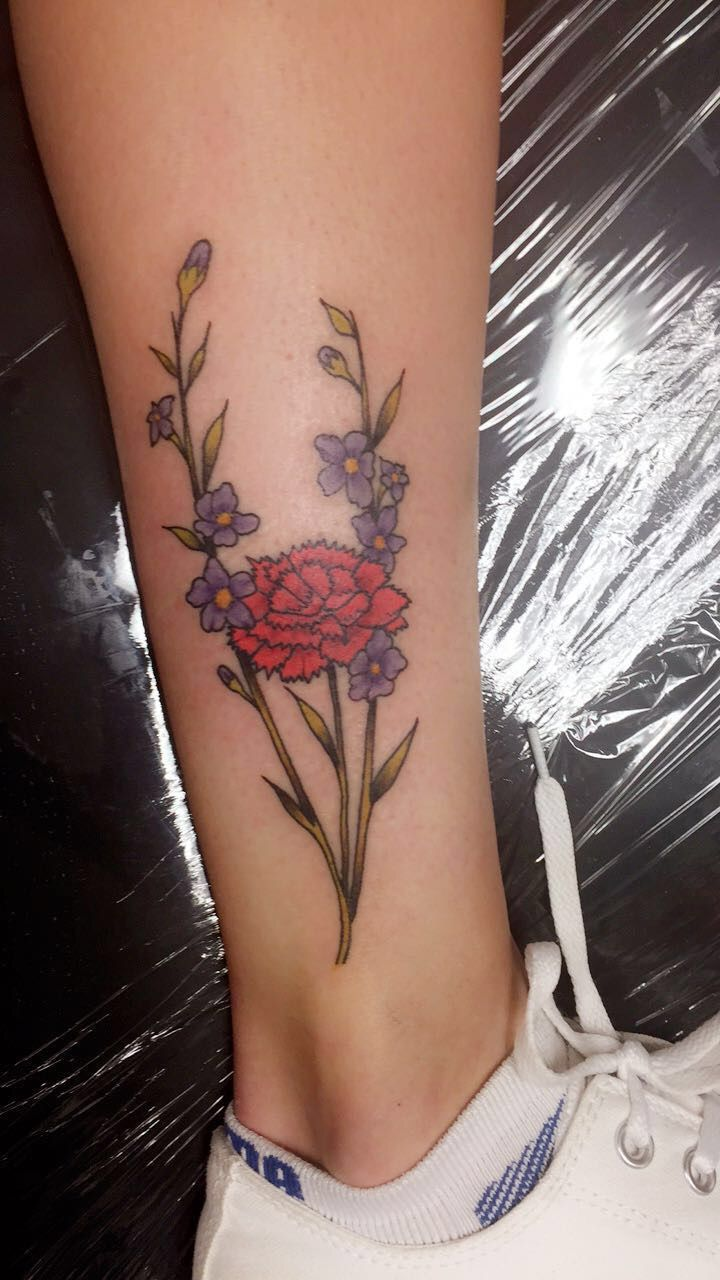 Larkspur and carnation flower tattoo #flower #tattoo #larkspur #carnation