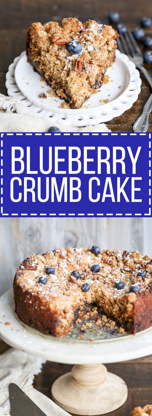... of pecan crumble atop a flavorful cake bursting with fresh blueberries