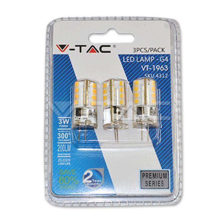 LED žiarovka G4, 3W, teplá biela, 200lm, balenie 3 kusy