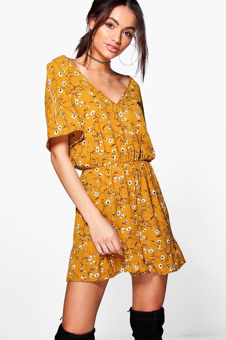 Louise Cold Shoulder Ruffle Floral Playsuit, Boohoo