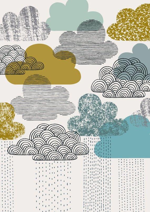 inspirationPattern, Art, Eloise Renouf, Graphics, Rain Clouds, Illustration Style, Clouds Illustration, Textiles Prints, Rainy Days