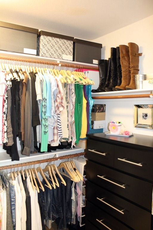 """""""Sticking with a common color theme within your closet just as you would in any room in your house, makes all the difference in the world."""" fun, simple organizing ideas here"""