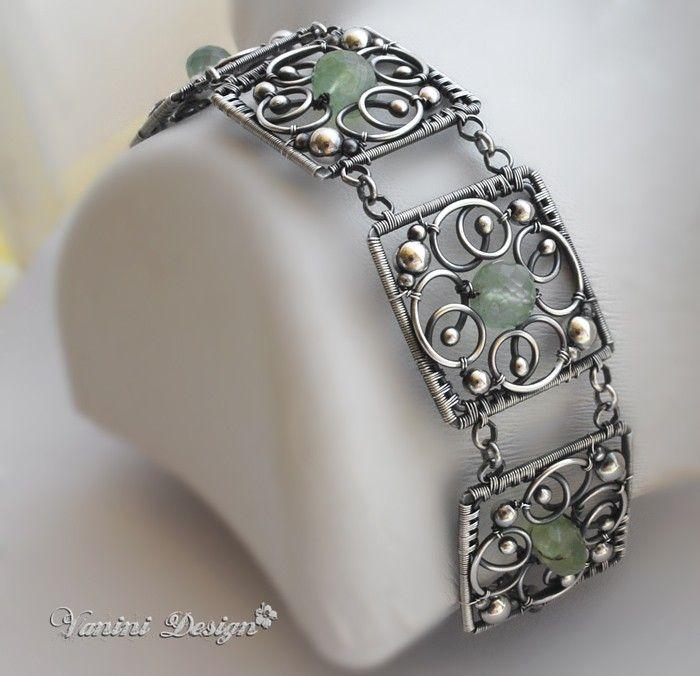 Five Elements-Fine/Sterling Silver and Prehnite bracelet. $398.00, via Etsy.
