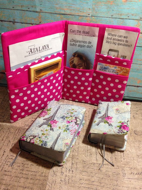 This set includes: one magazine & tract holder, one regular sized bible cover, and one bible cover for the pocket sized bible.