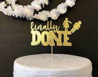 divorce cake topper/divorce party/gold cake topper/custom cake topper
