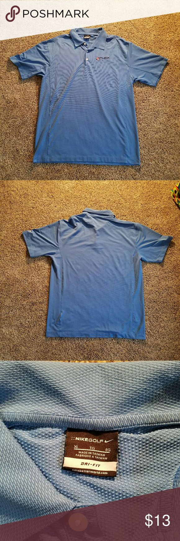 Nike Golf Men's drifit Short Sleeve shirt 89% polyester 11% spandex in good condition. Has a Plex Online. No snags, tares, or stains. Light weight in very good condition. Nike Shirts Polos