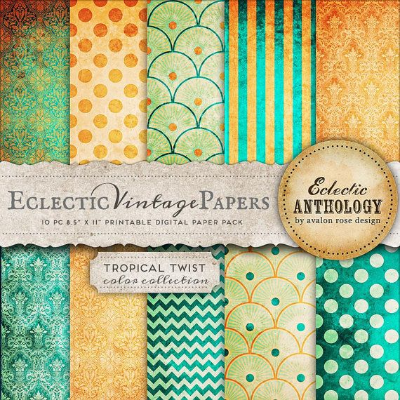 Eclectic Vintage Printable Papers  Tropical by eclecticanthology, $4.50