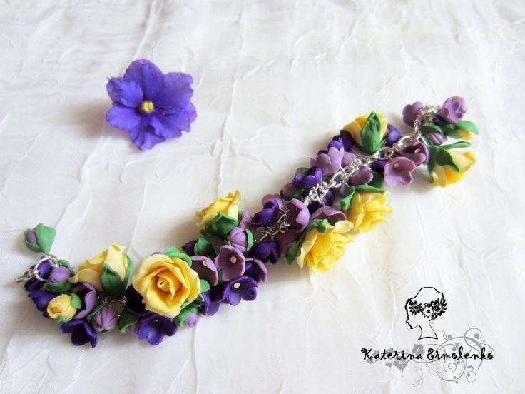 Браслет с цветами из полимерной глины