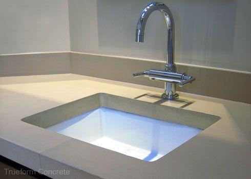 Concrete vanity top with undermount sink concrete - Custom bathroom countertops with sink ...