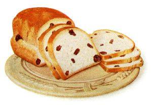 vintage food clip art, homemade raisin bread, old fashioned baking illustration, baked goods clipart, printable kitchen image