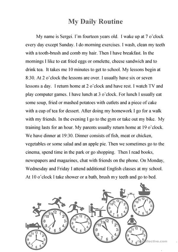 Teaching Daily Routine Vocabulary Using Present Simple Telling The Time I Ask My Student After In English Worksheet Life Essay For Clas 8 6