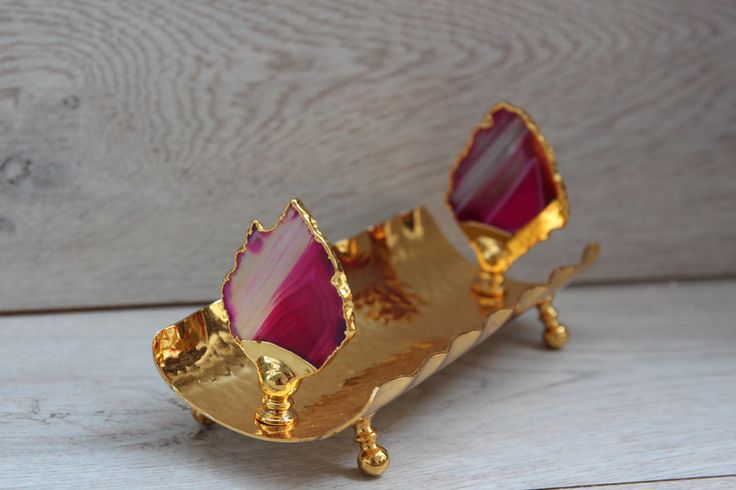 LUXURIOUS SUGAR/ CHOCOLATE SERVER WITH AGATE SLICE