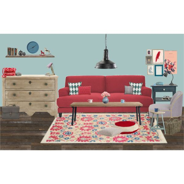 red sofa by chrylou on Polyvore featuring interior, interiors, interior design, home, home decor, interior decorating, Blu Dot, Anne-Claire Petit, Nordal and canvas
