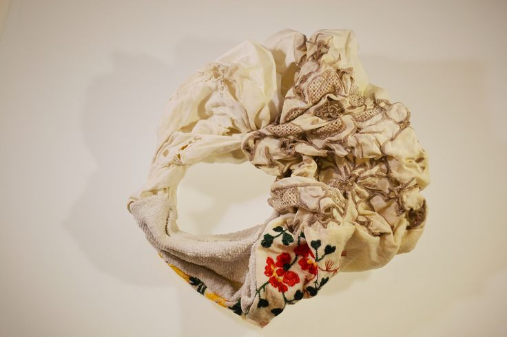 Lucilla Giovanninetti, STICH AFTER STICH:  a women's  Age, through embroidery, crystallized and   stiffened. Fabric + resin. 2014