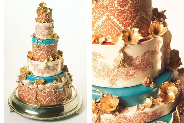 Teal and Copper #wedding #cake
