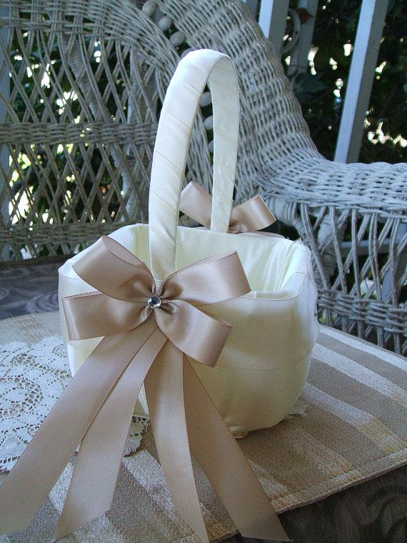 Flower Girl Basket, Basket wrapped with batting and fabric; ribbon and flower, ribbon-wrapped handle
