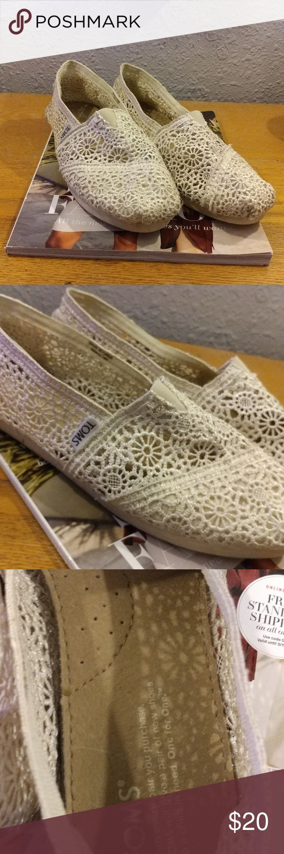 White lace toms White lace toms only been worn a couple of times TOMS Shoes Espadrilles
