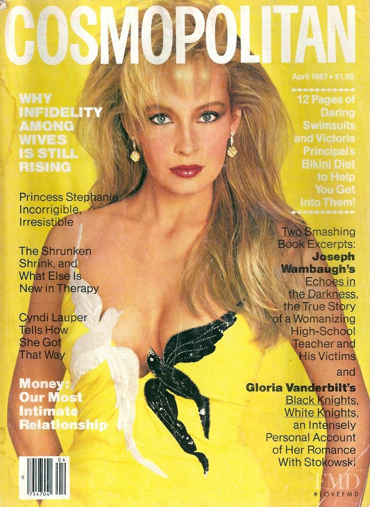 Cover with Estelle Hallyday (Lefebure) April 1987 of USA based magazine Cosmopolitan USA from Hearst Corporation including details. (ID:15546)
