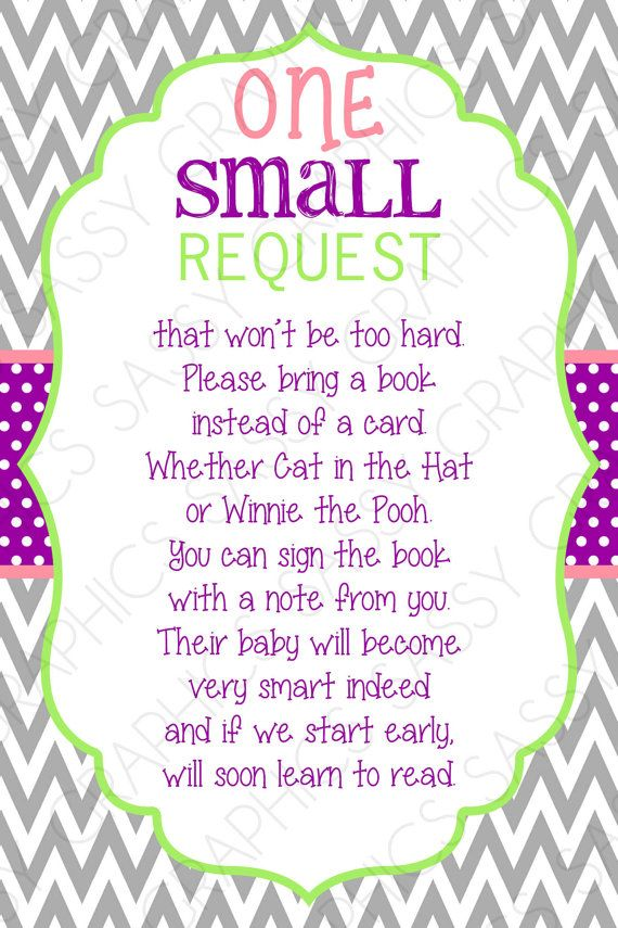 bring a book card instead of a card one small request chevron purple green pink bring a book instant download diy insert pdf item 4 lilylus first