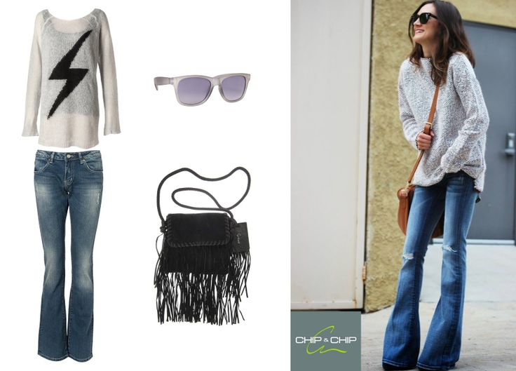Chip&Chip casual outfit: -jeans -pullover -boho bag -stylish sunglasses