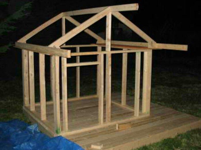 Shed Playhouse Frame Diy Garden Yard Ideas Patio Play