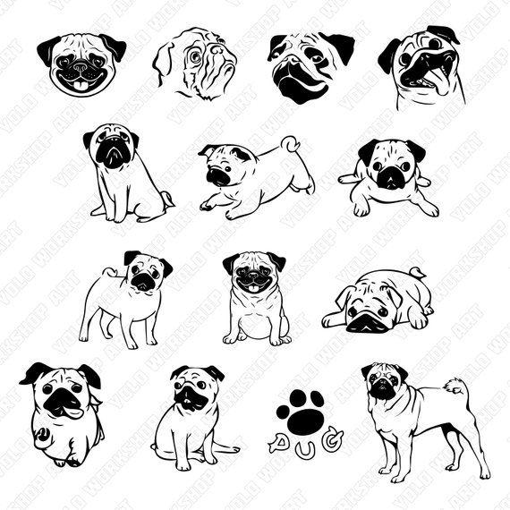 Pug Dog Svg File Eps File Jpg File Png File Silhouette File