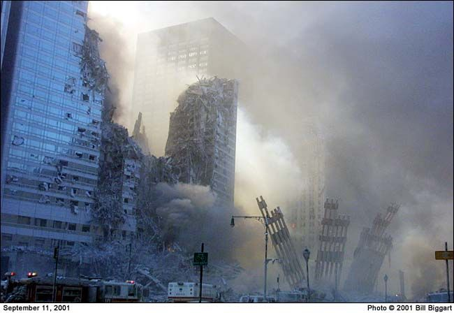 During the September 11th attacks, photojournalist Bill Biggart was in the second tower of the World Trade Center. He was tragically killed when the tower collapsed. His body was recovered with his cameras, which included a digital camera containing 150 photos. This was the last photo that Bill had taken, time stamped at 10:28 a.m. Just two minutes afterwards, the tower collapsed.