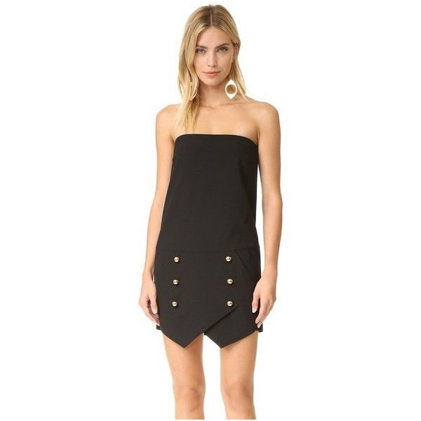 Michelle Mason Strapless Mini Dress (£460) ❤ liked on Polyvore featuring dresses, black, bustier mini dress, short dresses, strapless dresses, strapless bustier and strapless bustier dress