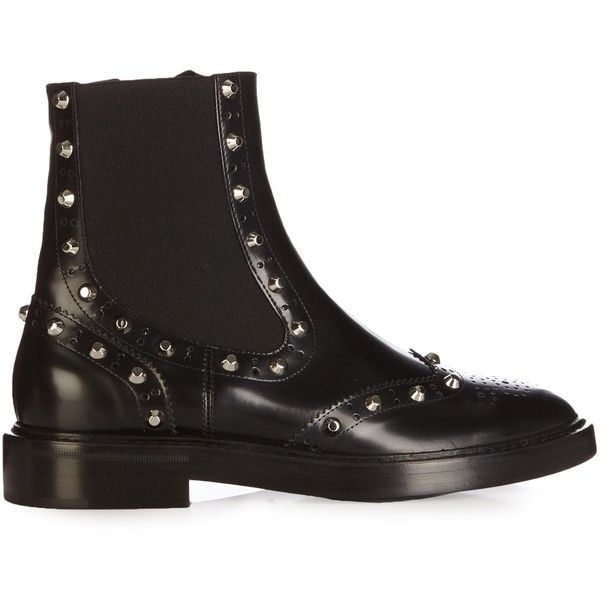 Balenciaga Studded brogue chelsea boots (4.335 RON) ❤ liked on Polyvore featuring shoes, boots, black, studded leather boots, black boots, chelsea boots, black leather shoes and chelsea ankle boots