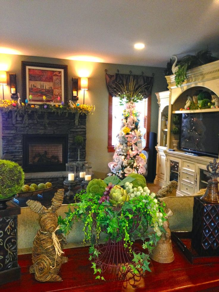 The Tuscan Home: Easter Mantle, Easter Tree, And Easter Decor