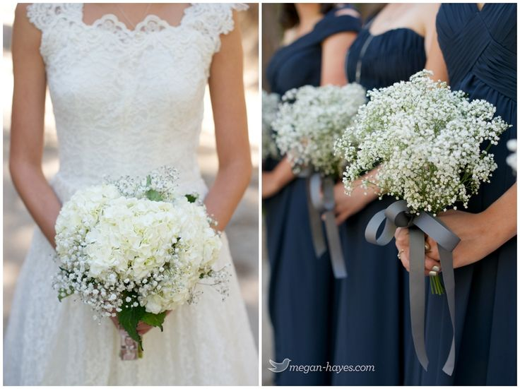 Baby's Breath & Hydrangea's - Pine Rose Cabins Wedding Photography, Lake Arrowhead CA, bridal bouquet, bridesmaid bouquet