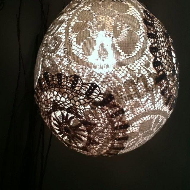 homemade lamp shades | Homemade vintage doily lamp shade.