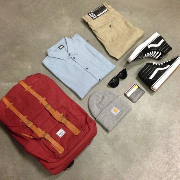 Herschel Little America Backpack, Dr. Denim Pete Shirt, Dr. Denim Heywood Stretch Chinos, Vans Old Skool Hi Shoes, Nudie Jeans Co. Jonte Card Wallet, Vans Spicoli Shades, Carhartt Acrylic Watch Beanie.     Available From https://kaeho.com.au/
