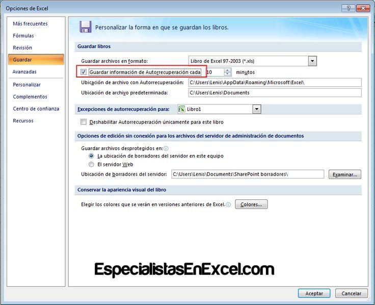 http://especialistasenexcel.com/ Para evitar perdida de información lo ideal es habilitar la opción Guardar y Recuperar archivos de Excel Automáticamente, aprende como se habilita.